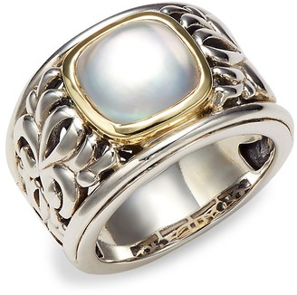 Charles Krypell Sterling Silver, 18K Yellow Gold Mother-of-Pearl Ring