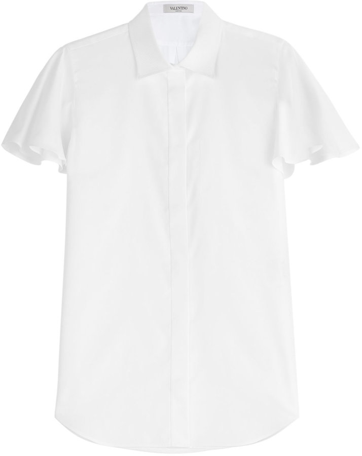 Valentino Cotton Blouse with Ruffled Sleeves