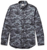 Club Monaco Button-Down Collar Camouflage-Print Donegal Cotton-Blend Shirt