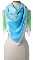 Lands' End Women's Bold Colorblock Scarf-Blue/Pink Seersucker