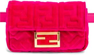 Fendi FF Velvet Hip Belt Bag in Fuchsia | FWRD