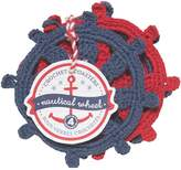 Now Designs Crocheted Coaster, Blue and Red, Set of Four