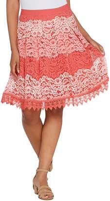 Isaac Mizrahi Live! Ombre Lace Stripe Skirt