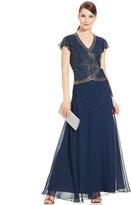 J Kara Flutter-Sleeve Embellished Side-Tie Gown