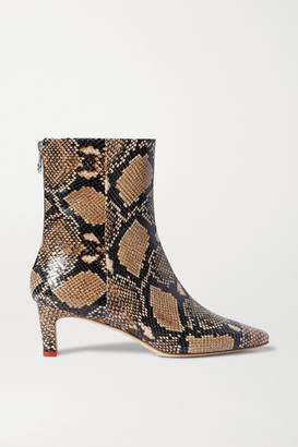 AEYDĒ Ivy Snake-effect Leather Ankle Boots - Snake print