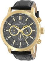 Lucien Piccard Men's 12011-YG-014 Monte Viso Chronograph Textured Dial Black Leather Watch