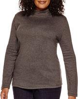 ST. JOHNS BAY St. John's Bay Long-Sleeve Mockneck Shirt - Plus