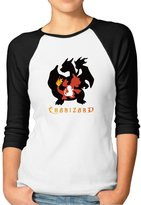 Sofia Women's Pokemon Go Charmander Charmeleon Charizard 3/4 Sleeve Baseball Tshirts S (2 Colors)