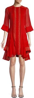 Chloé Lace Sheer-Sleeve Mini Dress