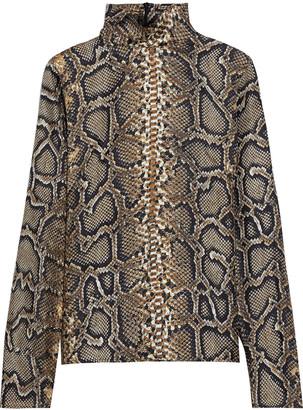 Victoria Beckham Snake-print Silk-twill Blouse
