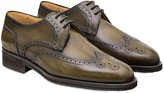 Pakerson Olive Italian Handmade Calfskin Lace-Up Shoes