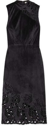 Alice + Olivia Kiana Velvet And Lace Dress - Black