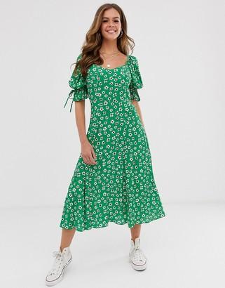 Ghost Melina floral mIdi dress-Green