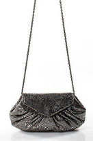 Lauren Merkin Silver Gray Leather Magnetic Closure Casual Clutch Handbag