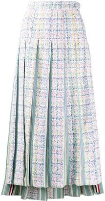 Thom Browne Tweed Pleated Midi Skirt