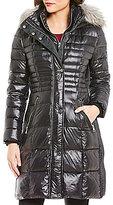 KARL LAGERFELD PARIS Karl Lagerfeld Paris Lux Nylon Down Faux-Fur Collar Shiny Puffer Coat