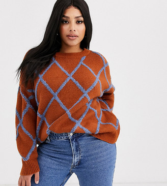 Only Curve knitted jumper in brown with blue stripe