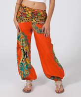 Aller Simplement Orange Paisley Harem Pants - Women