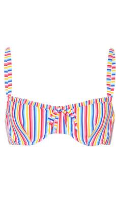 Onia Marilyn Striped Ribbed Bikini Top