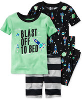 Carter's 4-Pc. Blast Off To Bed Glow-in-the-dark Pajama Set, Toddler Boys (2T-4T)