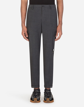 Dolce & Gabbana Micro-Patterned Stretch Wool Cargo Pants