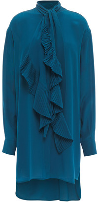 Givenchy Pleated Ruffled Silk Crepe De Chine Dress