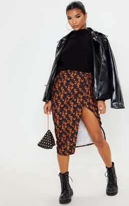 PrettyLittleThing Snow Leopard Print Wrap Midi Skirt