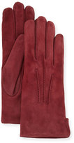 Portolano Cashmere-Lined Suede Gloves, Burgundy