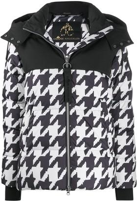 Moose Knuckles Houndstooth Print Padded Jacket
