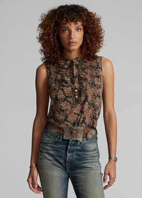 Ralph Lauren Floral Cotton Tie-Neck Blouse