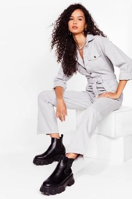 Nasty Gal Womens Make Slit Right Relaxed Denim Boilersuit - Grey - 6, Grey