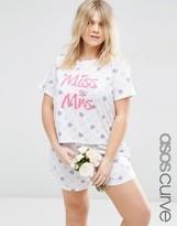 Asos Bridal 'Miss To Mrs' T-Shirt & Short Pajama Set