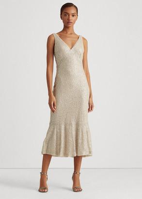 Ralph Lauren Sequin-Lace Sleeveless Dress