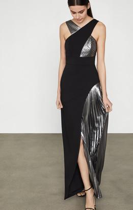 BCBGMAXAZRIA Pleated Metallic Halter Gown