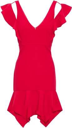 HANEY Ruffled Cutout Ponte Mini Dress