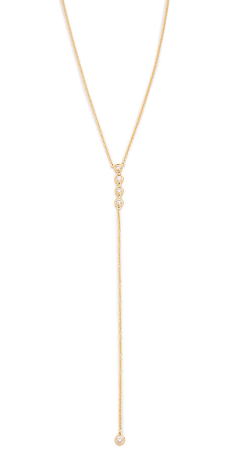 Ef Collection 14k Gold Diamond 5 Bezel Lariat Necklace