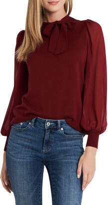 CeCe Sweet Tie Mix Media Cotton Blend Sweater
