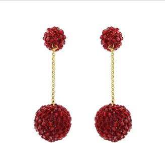 Lavish By Tricia Milaneze Red Velvet Crochet Ball Drop Earrings