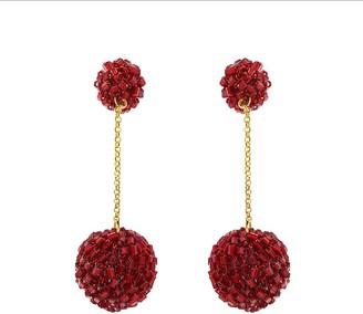 Red Velvet Crochet Ball Drop Earrings