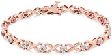 Macy's Diamond Flower Link Bracelet (1/10 ct. tw.) in Sterling Silver or 14k Yellow Gold-Plated Sterling Silver or 14k Rose Gold-Plated Sterling Silver