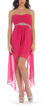 MayQueen Women's Special Occasion Dresses Fuchsia - Fuchsia Mesh-Overlay Hi-Low Dress - Women & Plus