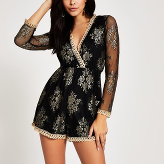 Forever Unique River Island Womens Black gold lace playsuit