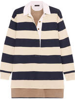 J.Crew Garret Oversized Striped Merino Wool Polo Top - Navy