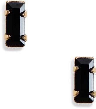 Bing Bang Tiny Baguette Jet Stud Earrings