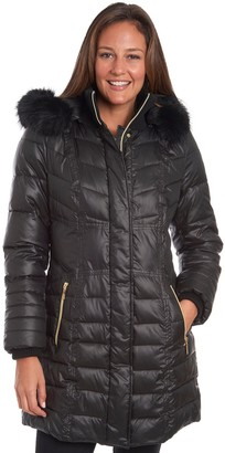 Fleet Street Women's Long Faux Down Coat with Detachable Faux Fur Trimmed Hood