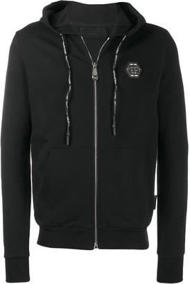 Philipp Plein crystal-embellished skull motif hoodie