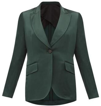 Ssōne Ssone - Metta Single-breasted Satin Jacket - Womens - Emerald