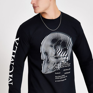River Island MCMLX black printed long sleeve T-shirt