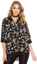 Quiz Green And Black Flower Print Zip Front Shirt