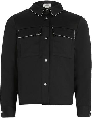 River Island Girls Beaded Trim Long Sleeve Shirt- Black